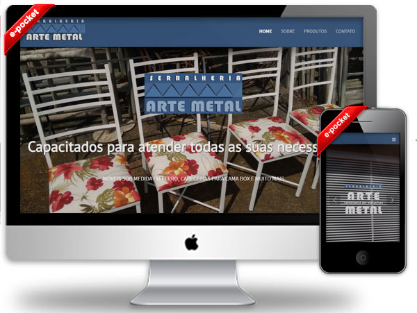 Site responsivo. E-pocket. Design moderno, site de baixo custo